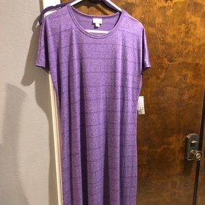 LulaRoe Maria maxi Dress Large Purple stripe